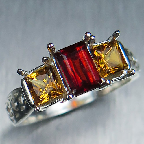 0.75ct Natural orange red Clinohumite 925 Silver / Gold/ Platinum ring