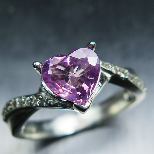1.1ct Natural Pink Spinel, heart  925 Silver / Gold/ Platinum ring