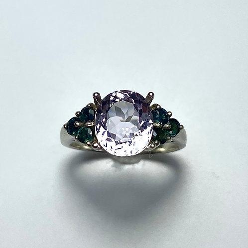2.95ct Natural light Pink Kunzite 925 Silver / Gold/ Platinum ring