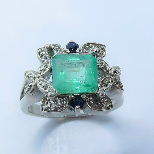 1.55ct Natural Emerald 925 Silver / Gold/ Platinum ring