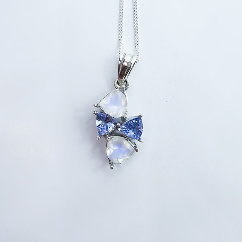 Natural rainbow moonstone & tanzanite Silver / Gold / Platinum pendant