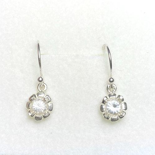 Rare Natural white Phenakite Silver /Gold drop dangling earrings