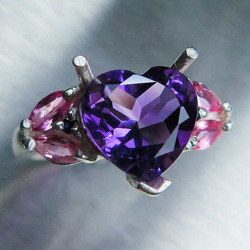 3.2ct Natural Amethyst 925 Silver / Gold/ Platinum ring