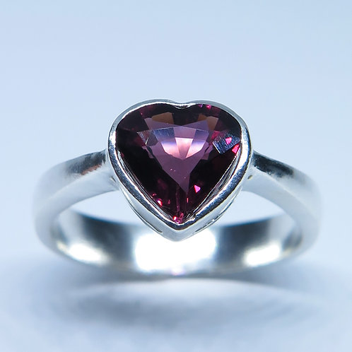Natural Tourmaline heart Rubelite (Rubellite) 925 Silver / Gold/ Platinum ring