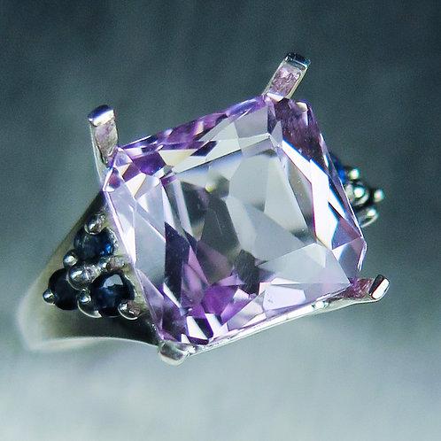 7.60cts Natural Pink Kunzite 925 Silver / Gold/ Platinum ring