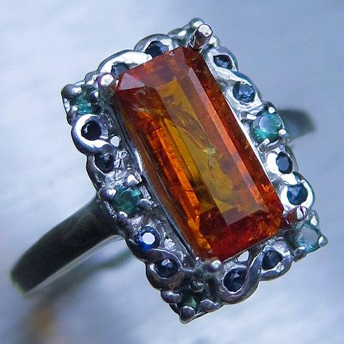 Rare Natural Clinohumite 925 Silver / Gold/ Platinum ring
