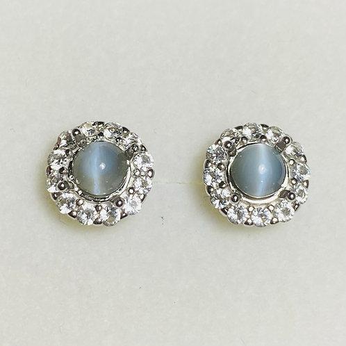 1.2ct Natural  Cat's Eye Chrysoberyl Silver/ Gold/Platinum stud studs earrings