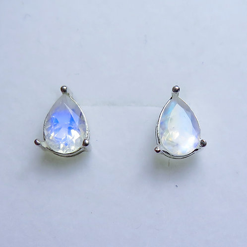 2.5ct Natural Rainbow Moonstone Silver /Gold stud earrings