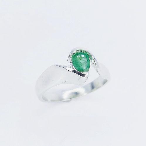 0.35cts Natural Green Emerald 925 Silver / Gold/ Platinum ring