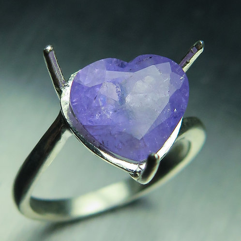 3.5cts Natural purple violet Apatite, heart cut 925 Silver / Gold/ Platinum ring