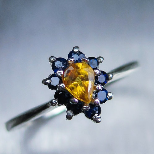0.45cts Natural fire orange sapphire 925 Silver / Gold/ Platinum ring
