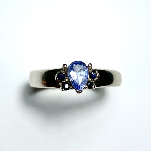 Rare Natural blue Heckmanite 925 Silver / Gold/ Platinum ring