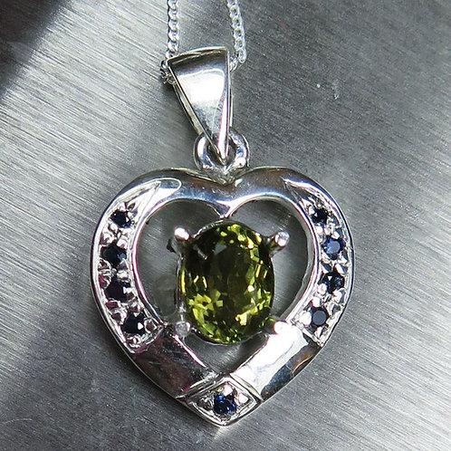 Natural Tourmaline Silver / Gold / Platinum heart pendant