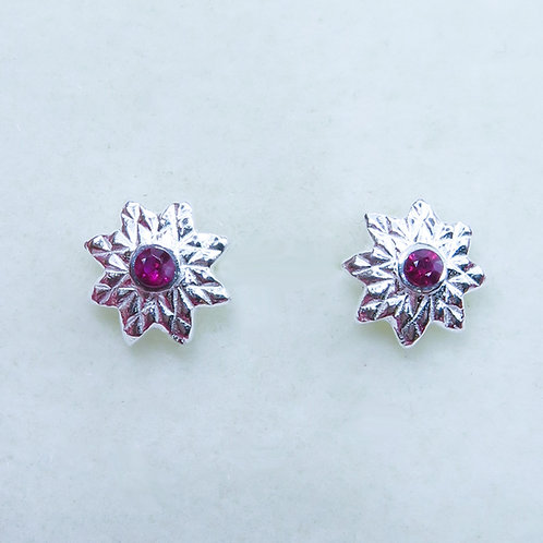 Natural Red Ruby 2mm Silver/ Gold/Platinum star stud earrings