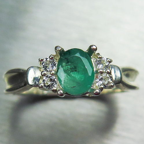 0.5ct Natural Colombian Emerald 925 Silver / Gold/ Platinum ring