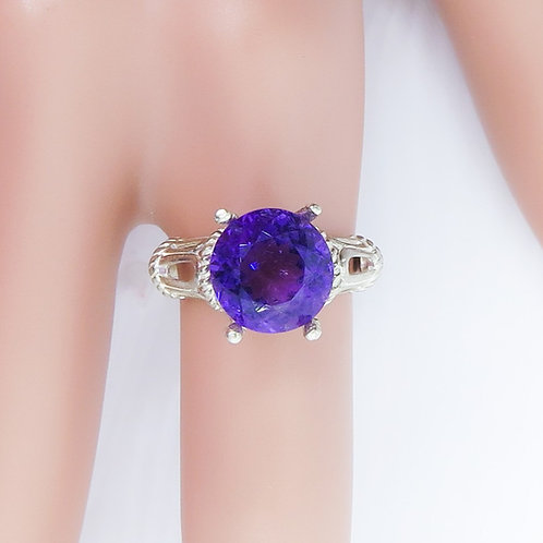 4.2ct Natural Amethyst 925 Silver / Gold/ Platinum solitaire r