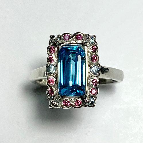 2.5ct Natural Paraiba Blue Zircon 925 Silver / Gold/ Platinum ring