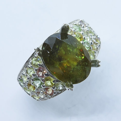 4.45cts Natural Sphalerite & sapphires 925 Silver / Gold/ Platinum ring