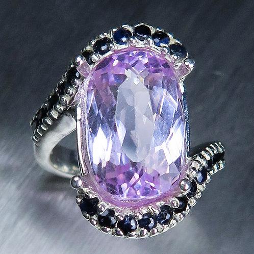 8.20cts Natural Light pink Kunzite 925 Silver / Gold/ Platinum ring