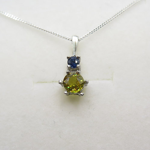 Natural titanite sphene Silver / Gold / Platinum pendant on chain
