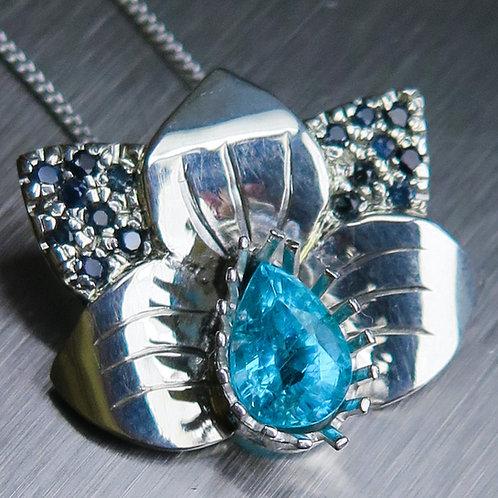 Natural Paraiba blue Apatite 925 Silver / Gold / Platinum orchid pendant
