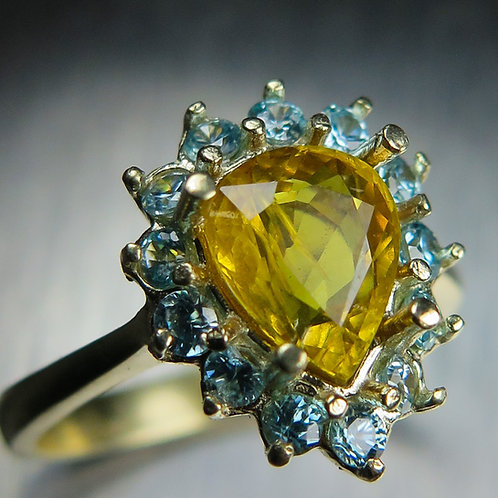 1.75cts Natural Yellow Sapphire 925 Silver/ Gold/ Platinum ring