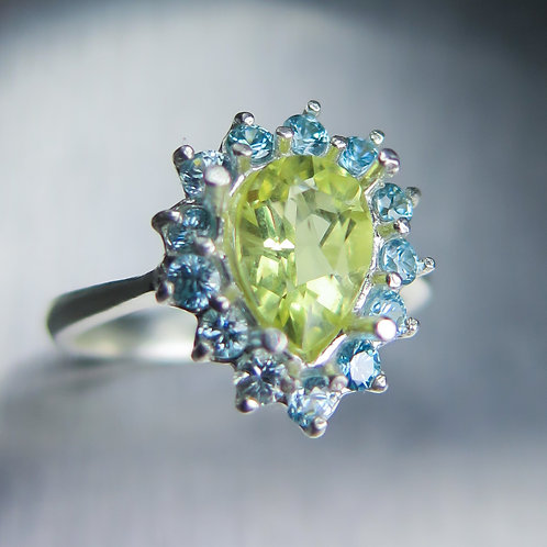 1.10cts Natural heliodor beryl 925 Silver / Gold/ Platinum ring