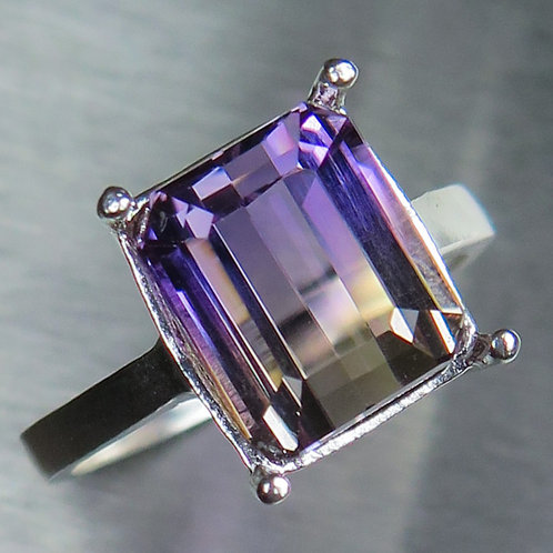 6.35cts Natural Bi-colour Ametrine 925 Silver / Gold/ Platinum ring