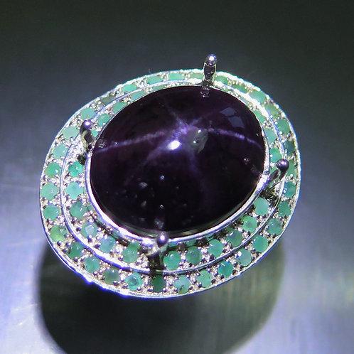 30.2cts Natural RARE Purple Black Star Garnet 925 Silver / Gold/ Platinum ring