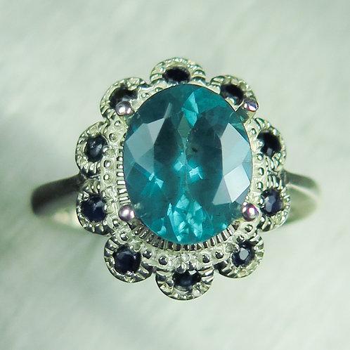 1.35ct Natural Paraiba blue Apatite 925 Silver / Gold/ Platinum ring