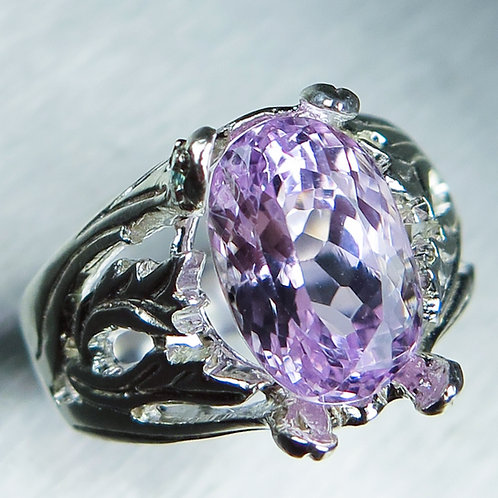 6.20cts Natural pink Kunzite 925 Silver / Gold/ Platinum ring