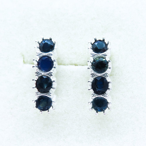 Natural Sapphires Silver/ Gold/Platinum stud earrings