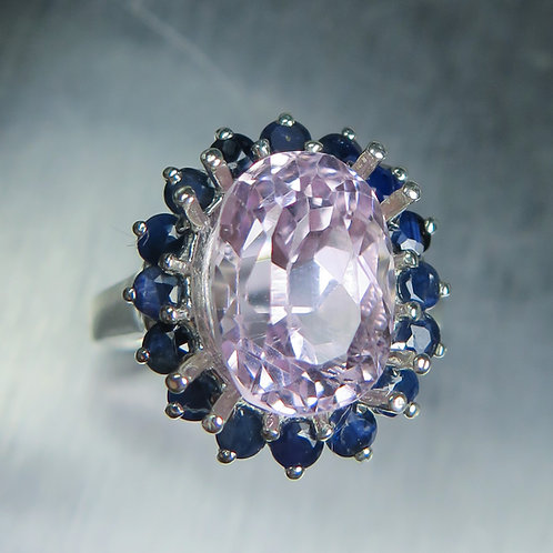 5.7cts Natural soft pink Kunzite 925 Silver / Gold/ Platinum ring