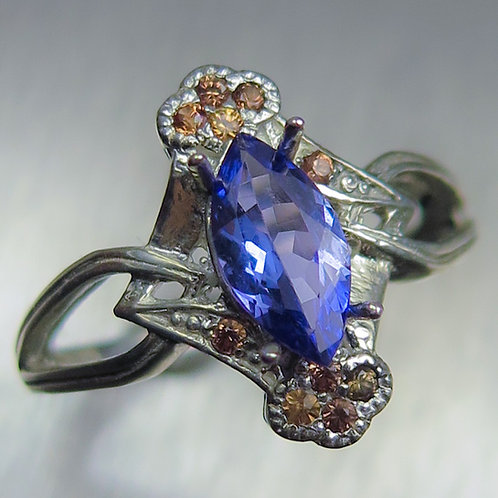 Natural Purple blue Tanzanite 925 Silver / Gold/ Platinum ring