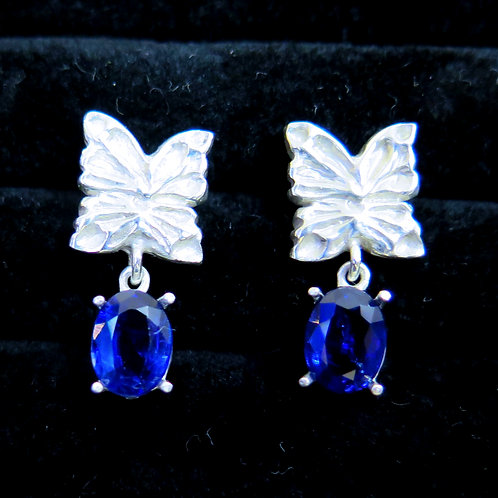3.40cts Natural blue Kyanite Silver /Gold / Platinum stud butterfly earrings