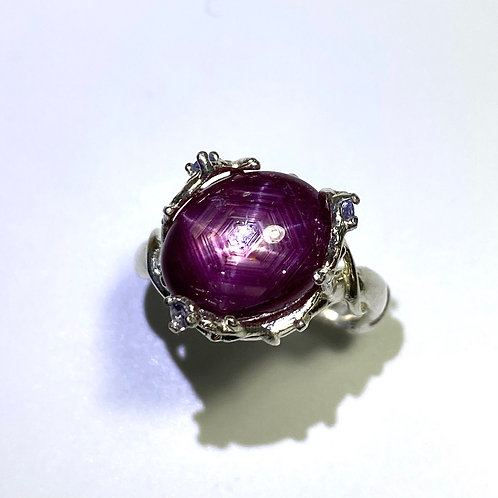 7.05cts Natural Red star ruby Silver / Gold / Platinum ring
