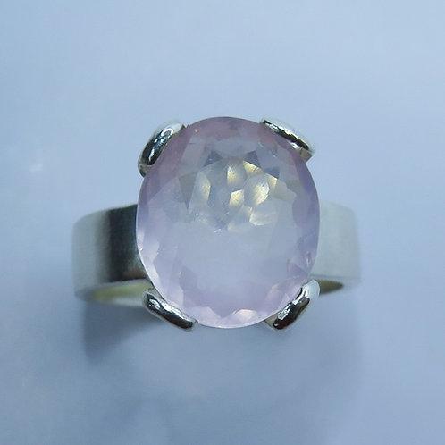 4.3ct Natural Rose Quartz 925 Silver / Gold/ Platinum solitaire unisex ring
