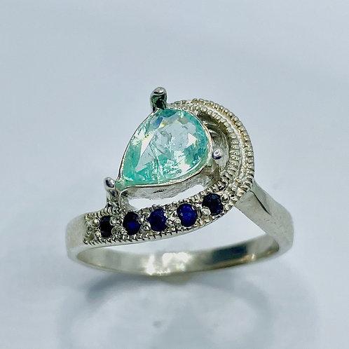0.55ct Natural light Paraiba blue elbaite Tourmaline 925 Silver / Gold ring