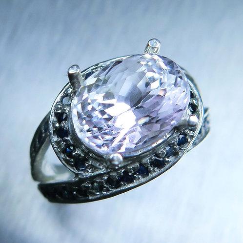 6.3ct Natural very light Pink Kunzite 925 Silver / Gold/ Platinum ring