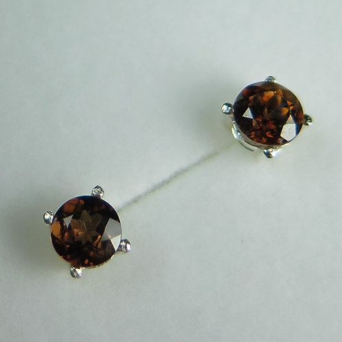 Natural hot chocolate brown Zircon Silver/ Gold/Platinum studs earrings