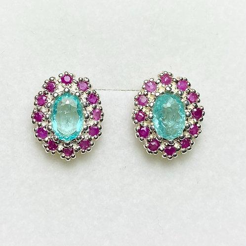 Natural Paraiba Tourmaline Silver/ Gold/Platinum stud studs earrings