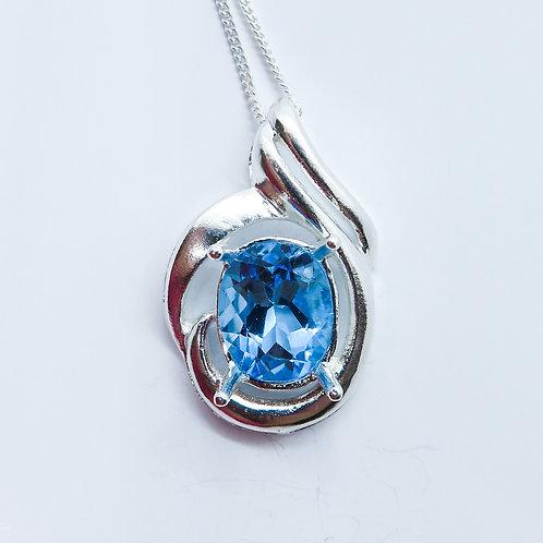 3.6ct Natural Swiss Blue Topaz Silver / Gold / Platinum pendant