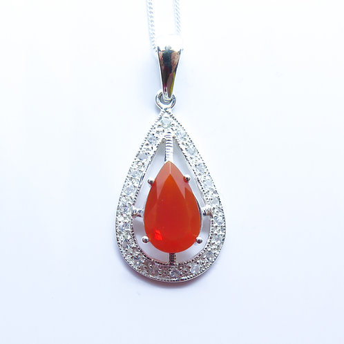 1.95ct Natural Fire Opal Silver / Gold / Platinum pendant on