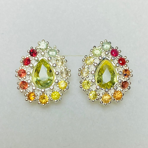 Natural lime yellow sapphires Silver/ Gold/Platinum stud earrings