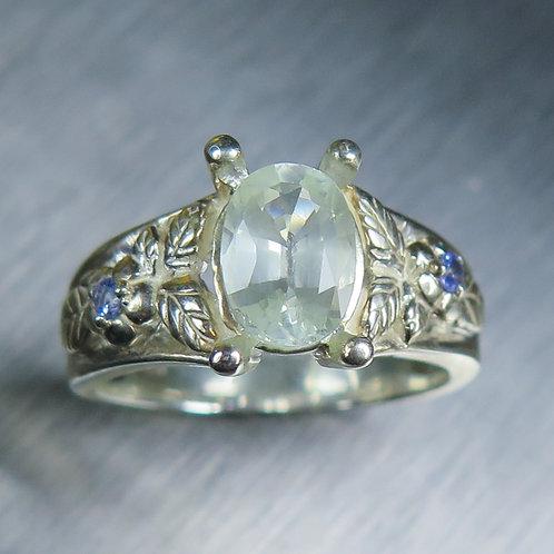 1.6ct Natural blueish whiteChrysoberyl 925 Silver / Gold/ Platinum ring