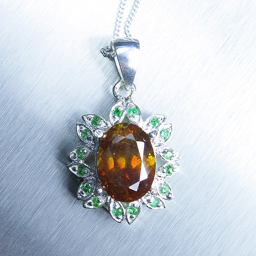 5.1cts Natural Sphalerite Silver / Gold / Platinum pendant on chain