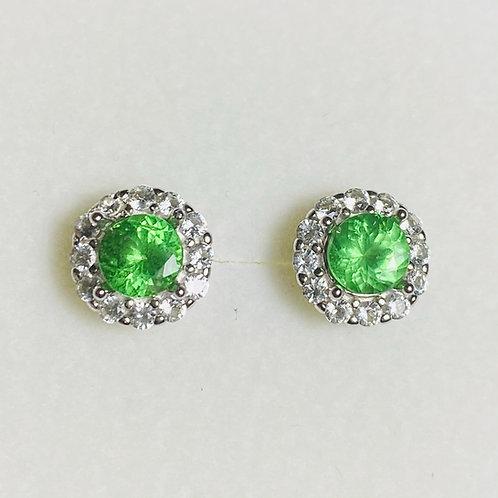 Natural green Tsavorite garnet Silver/ Gold/Platinum stud studs earrings