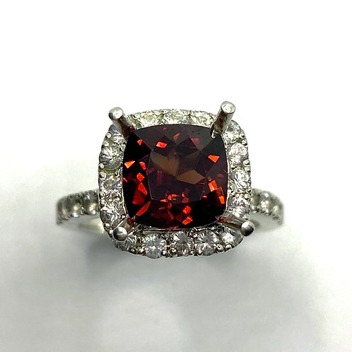 3.3cts Natural Dark Red Zircon 925 Silver / Gold/ Platinum ring