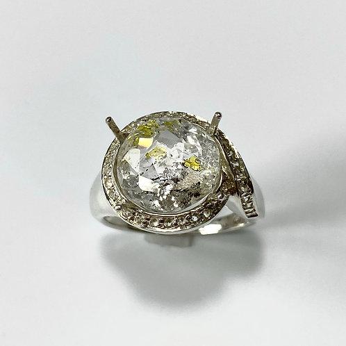 5ct Natural petroleum quartz Golden Enhydros 925 Silver ring