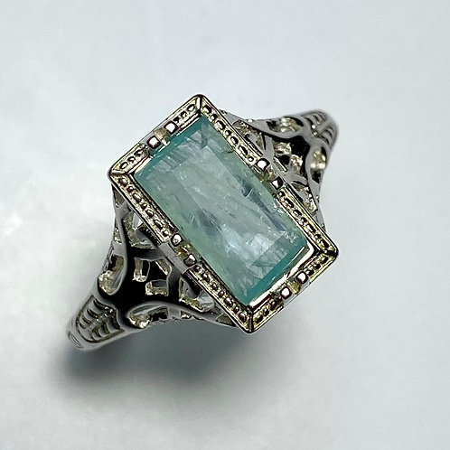 1.1cts Natural Grandidierite 925 Sterling silver art deco solitaire ring